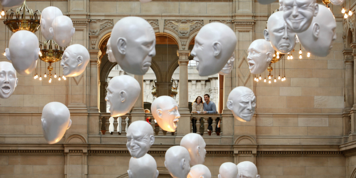 Heads - sculptures by Sophie Cave on show in the Expression Court of Kelvingrove Art Gallery and Museum, Glasgow