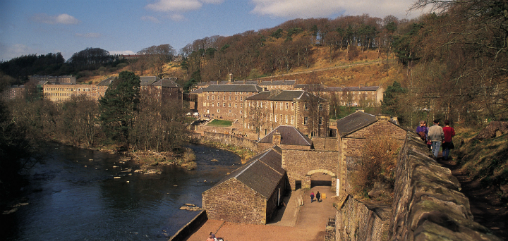 Looking down across New Lanark, a conservation village with UNESCO World Heritage Site status