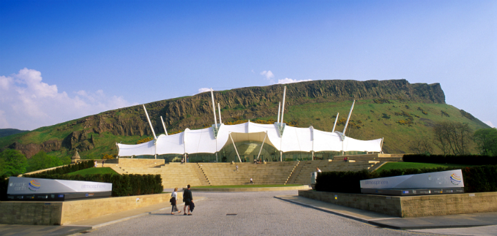 The exterior of science-based attraction Our Dynamic Earth, Edinburgh