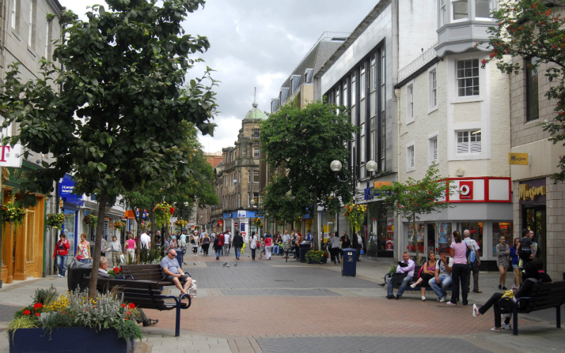 Looking down Perth's High Street