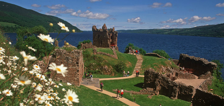 The majestic ruins of Urquhart Castle on the bankc of Loch Ness, near Drumnadrochit, Highlands