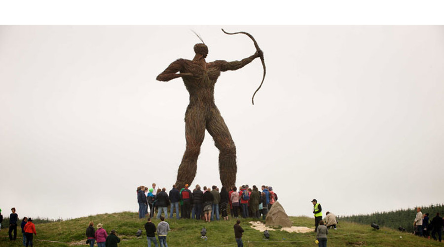 The Wickerman statue towers over the festival
