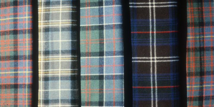 Rolls of different clan tartans