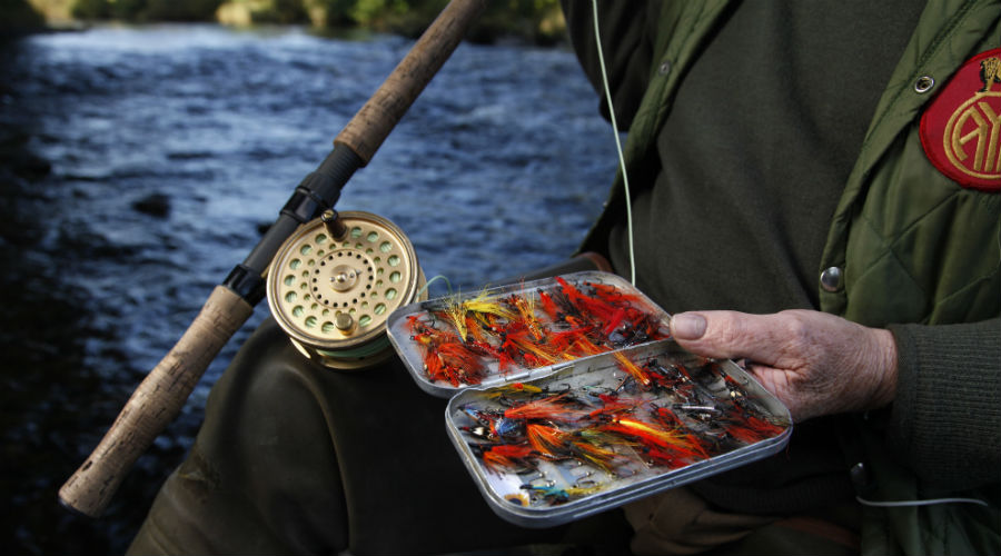 A close-up of angler Colin Liddell's homemade flies on the River Nith, Dumfries & Galloway