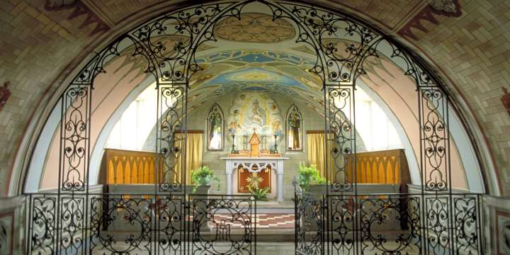 A view inside the ornate Italian Chapel, built by Italian P.O.Ws in 1943