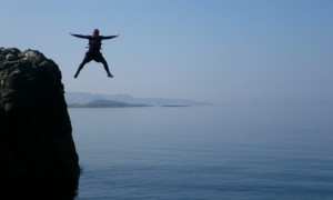 Coasteering at cliffs near Oban, Argyll. Image credit Stramash Social Enterprise