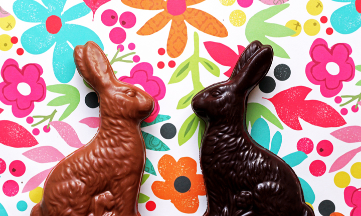 One milk and one dark chocolate bunny against a floral background.