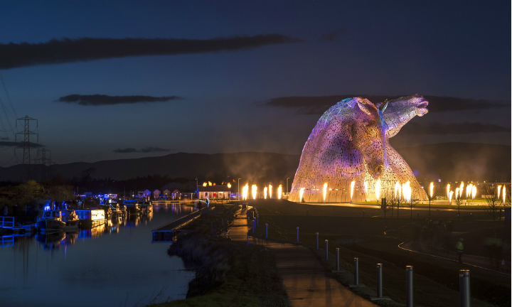 The Kelpies, spectacularly lit up for the official launch event HOME in April