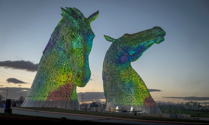 The Kelpies were bathed in sound and light during the official launch event in April, entitled HOME