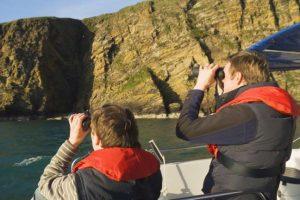 Birdwatchers on a Scapa Flow Boat trip, Orkney