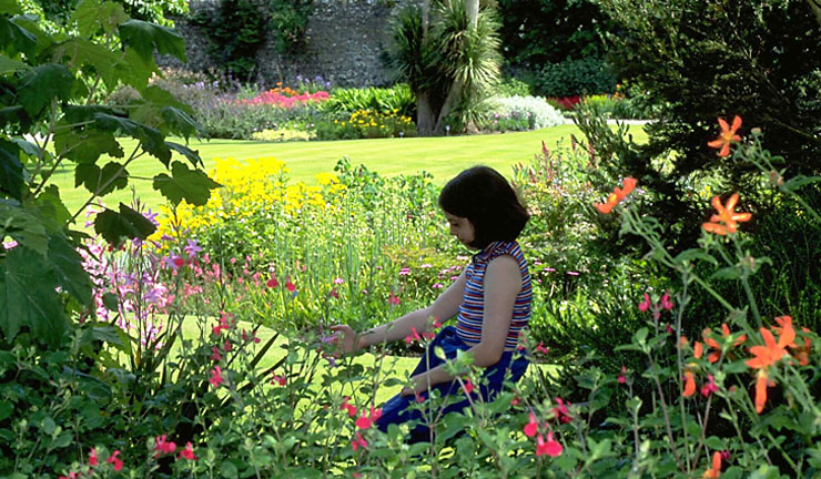 A girl kneels in a flowerbed and admires the plants ©Royal Botanic Garden Edinburgh