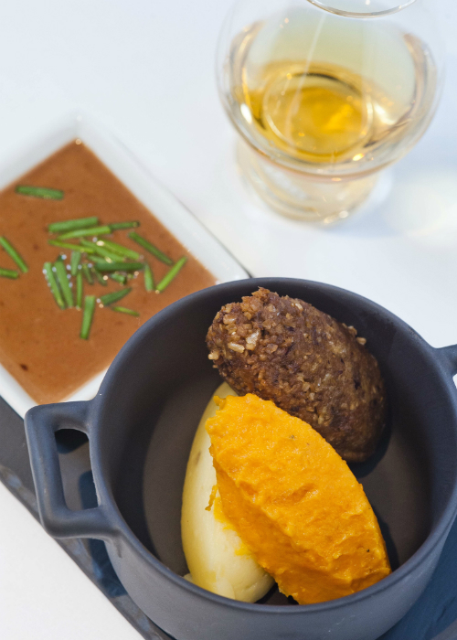 A pot of haggis, neeps and tatties with whisky sauce from the Amber Restaurant