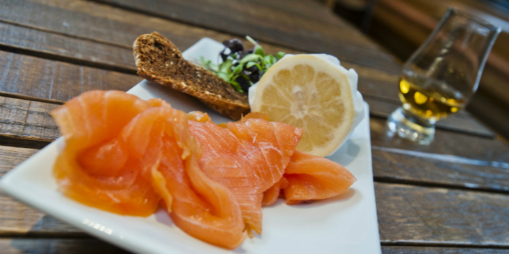 Scottish smoked salmon from the Amber Restaurant