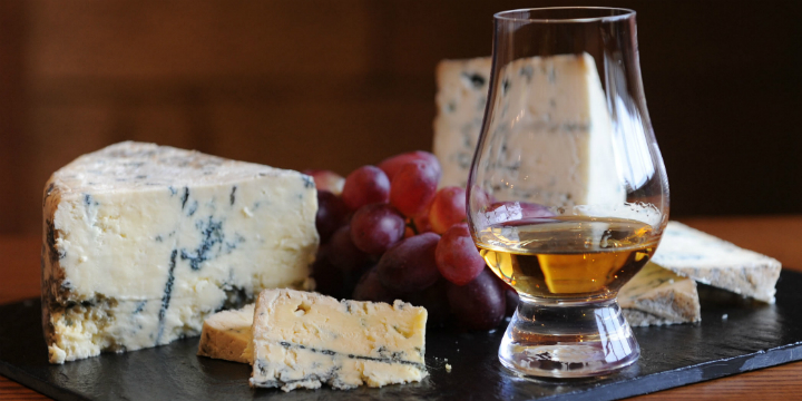 A cheeseboard of Dunsyre blue from the Amber Restaurant