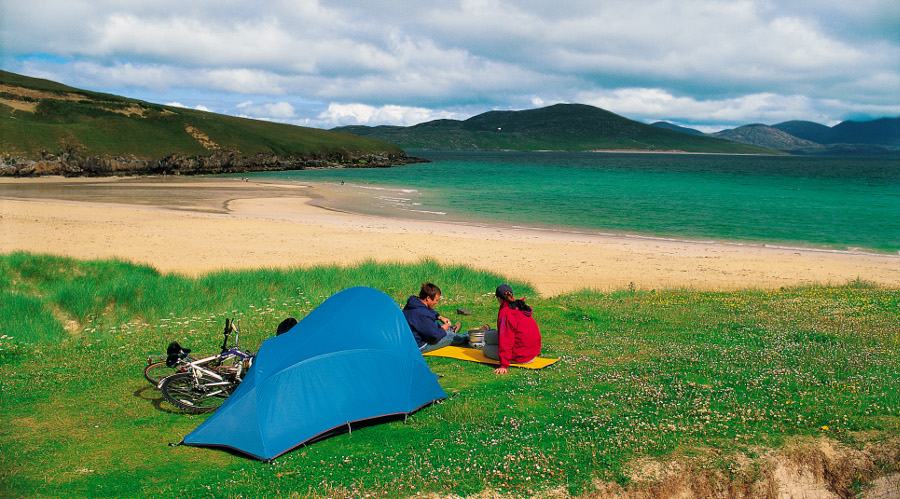 Wild camping on Horgabost Beach on the Isle of Harris