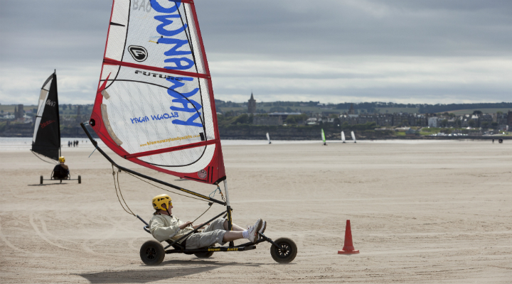 Land yachting with Blown Away on West Sands, St Andrews