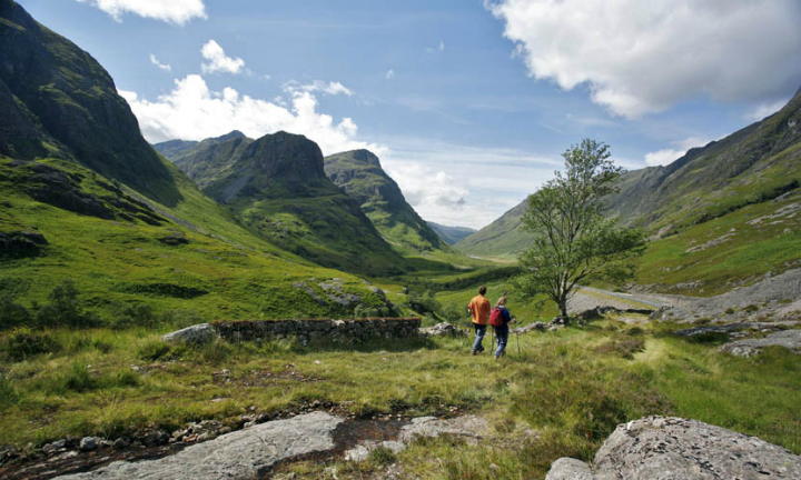A couple walking on the old drovers road in Glen Coe