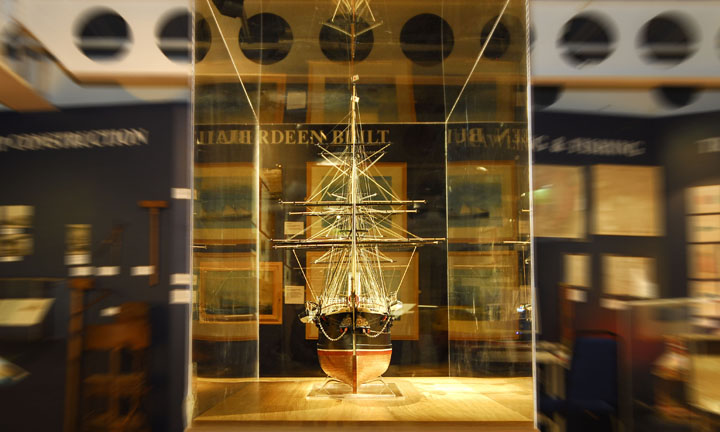 A model ship on display in the museum