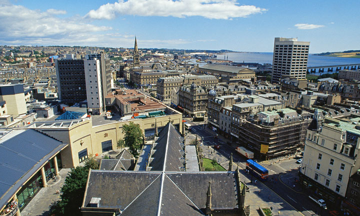 Looking across the city of Dundee from the church tower.