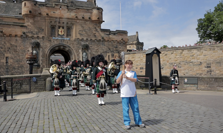 TV presenter Lorraine Kelly with the baton at Edinburgh Castle