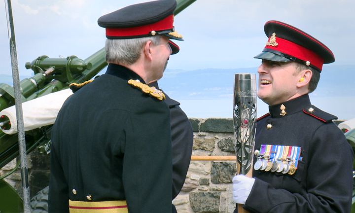 District Gunner, Sergeant David Beveridge with the baton, Edinburgh Castle
