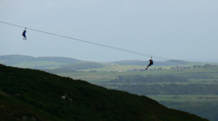 UK's longest zip wire at Laggan Outdoor Centre, Dumfries & Galloway