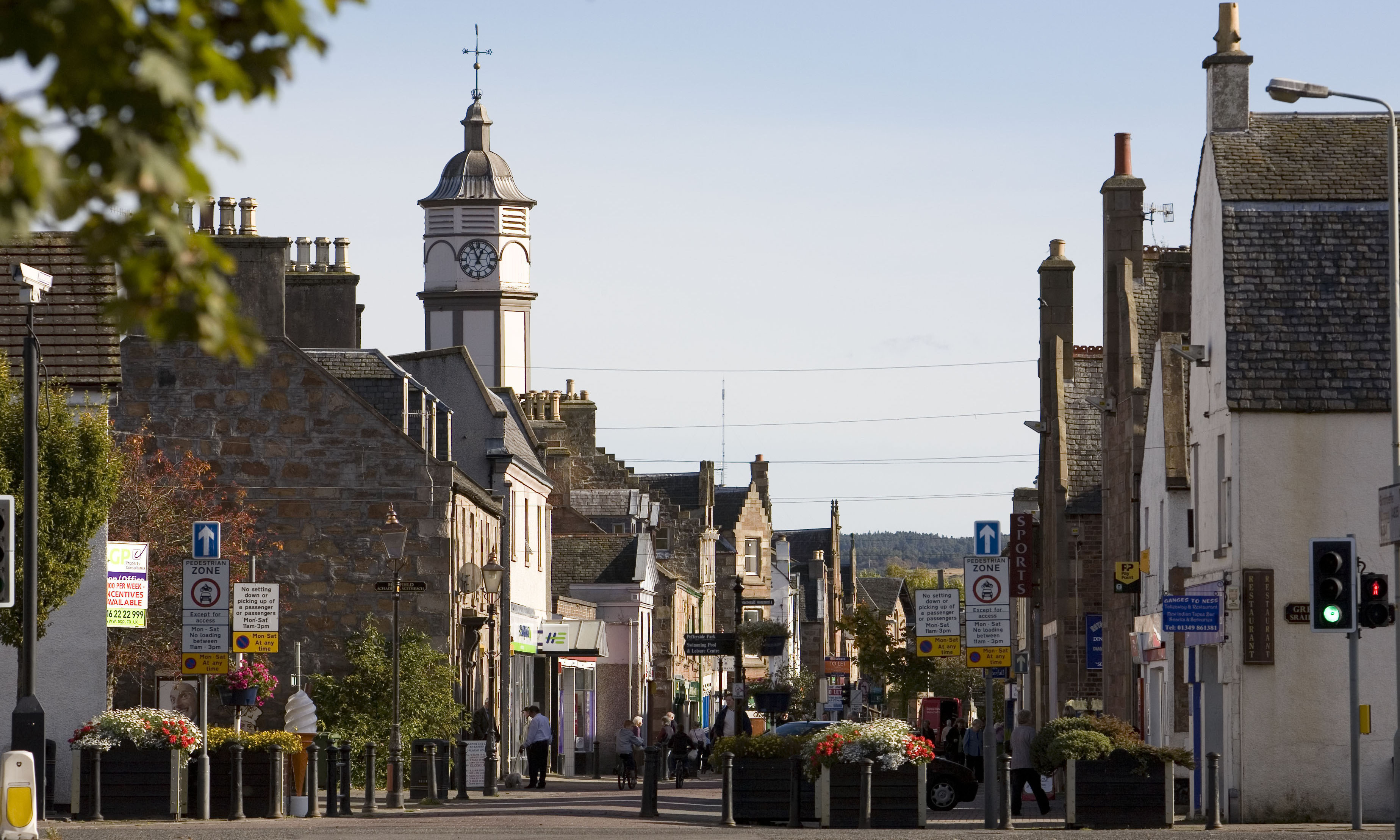 Town centre of Dingwall with the clock tower in the foreground.