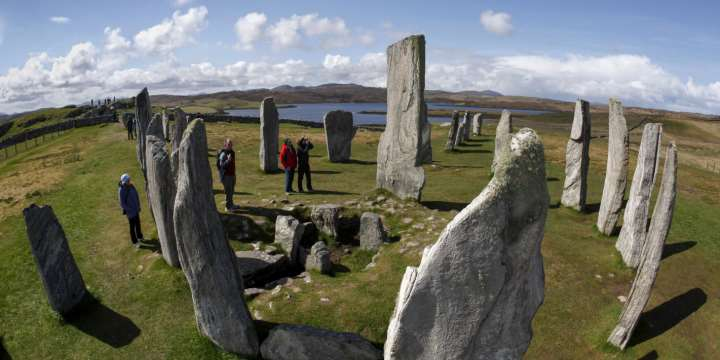 Tourists visit the Calanais Standing Stones, Calanais, Isle of Lewis