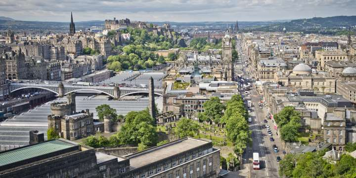 View of Edinburgh, looking down Princes Street