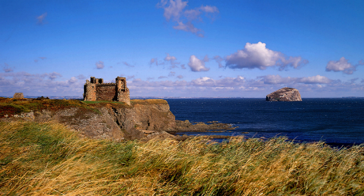The ruins of Tantallon Castle and the Bass Rock, East Lothian