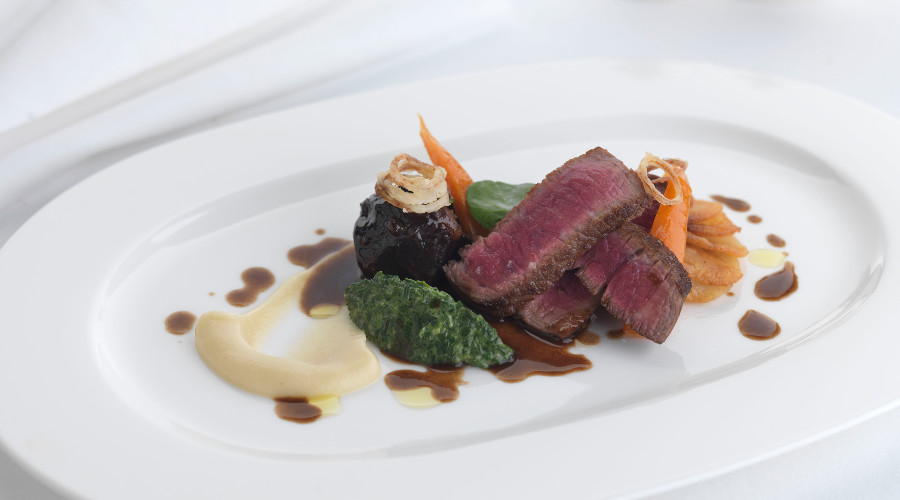 Craig Sandle's Scottish beef dish, served at the illustrious Pompadour by Galvin restaurant
