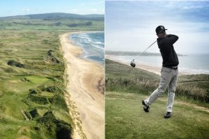 Machrihanish Dunes from above and Matt Ginella playing at Cruden Bay