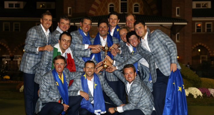The winning European team at The 2012 Ryder Cup at the Medinah, Illinois
