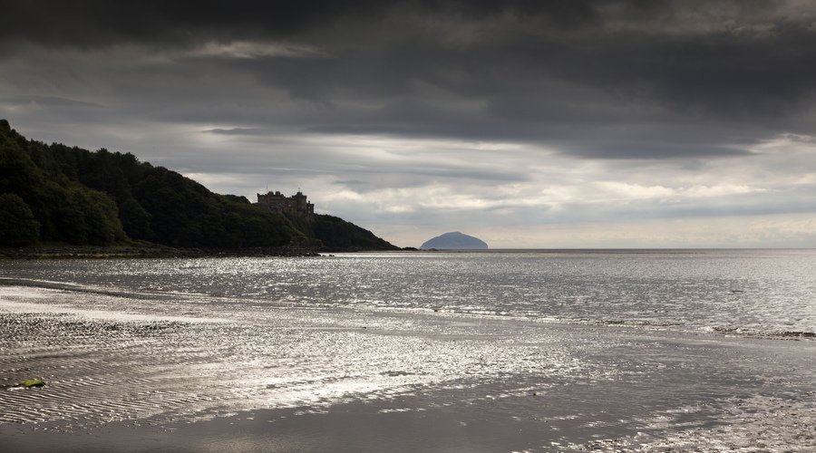 The view towards Culzean Castle with Ailsa Craig visible on the horizon, South Ayrshire. Picture Credit : Paul Tomkins