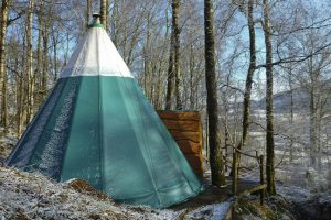 A sprinkling of snow dusts a large green canvas tent in a woodland.