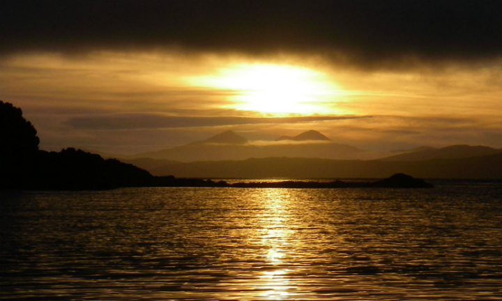 Sunset over the Paps of Jura from Loch Craignish