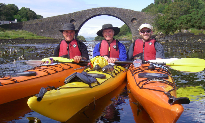 Happy paddlers at the Clachan Bridge, Isle of Seil