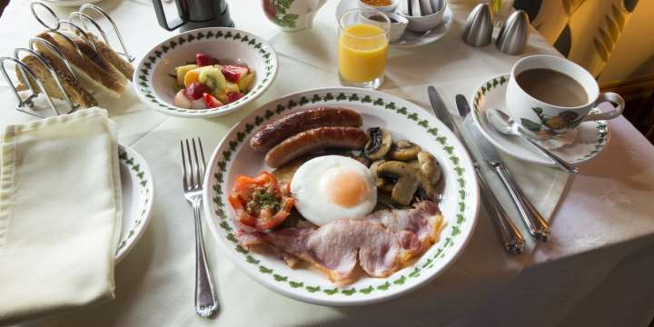 A full Scottish breakfast served at the Coila Guest House, Ayr, South Ayrshire