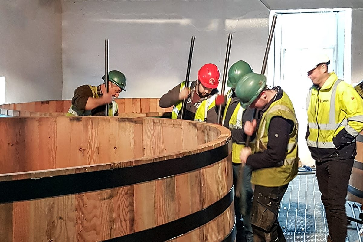 Installing a new washback, Bladnoch Distillery, near Wigtown