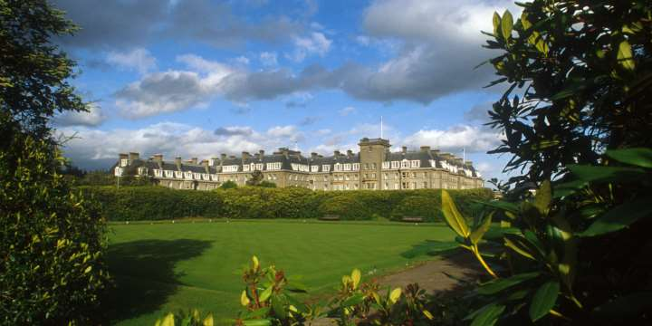 Looking across the bowling green to The Gleneagles Hotel