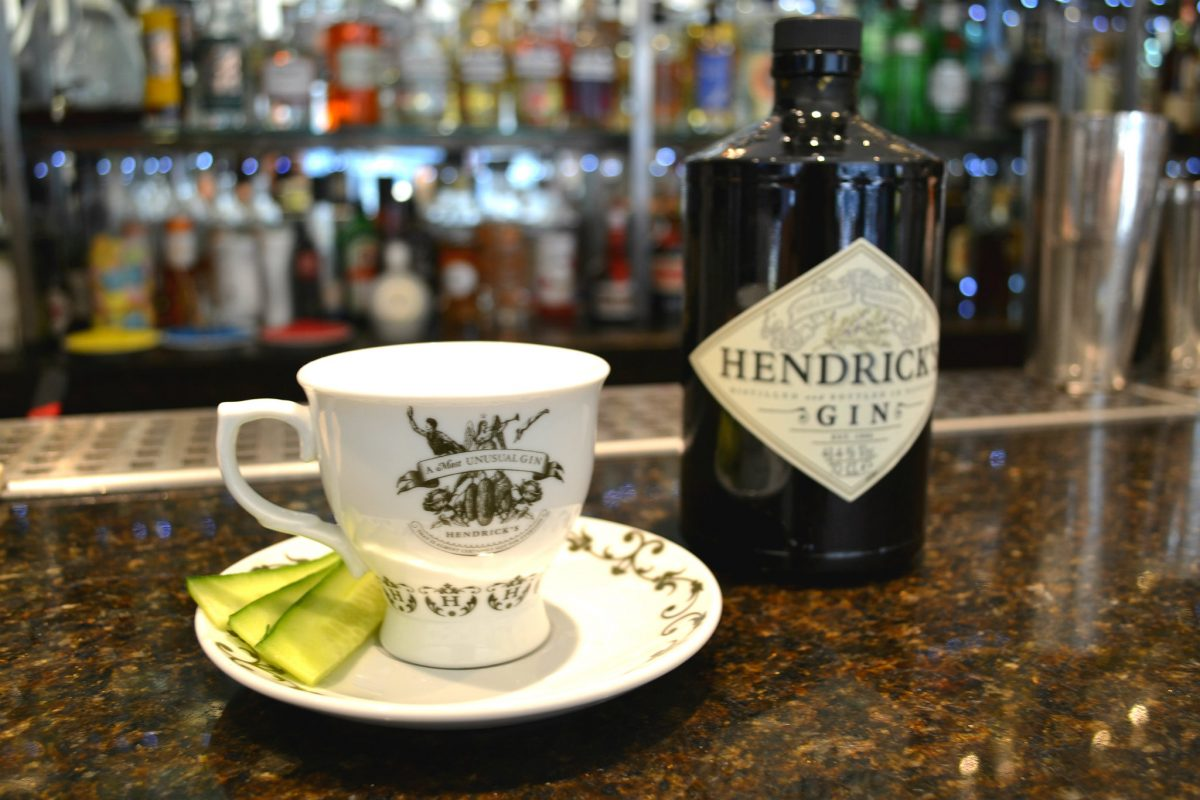 Devised by 56 North, Curious Cucumber combines Hendrick's Gin with cucumber, rose syrup, lemon juice and a bit of fizz
