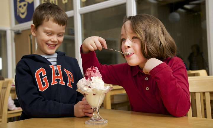 Children eating ice cream at the Cream o' Galloway visitor centre