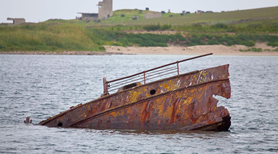 A shipwreck, Scapa Flow, Orkney