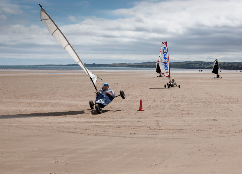 Land yachting on West Sands Beach, St Andrews
