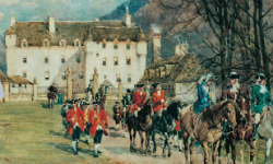 A painting depicting Traquair House int he 18th century