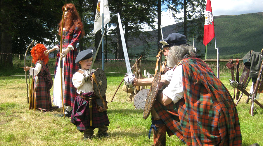 Preparing for battle at Jacobite Day at Braemar Castle