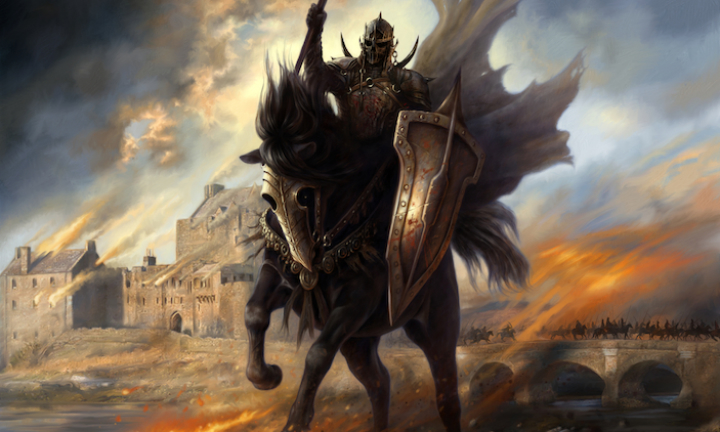Artwork by Martina Pilcerova of the Black Angel riding into battle