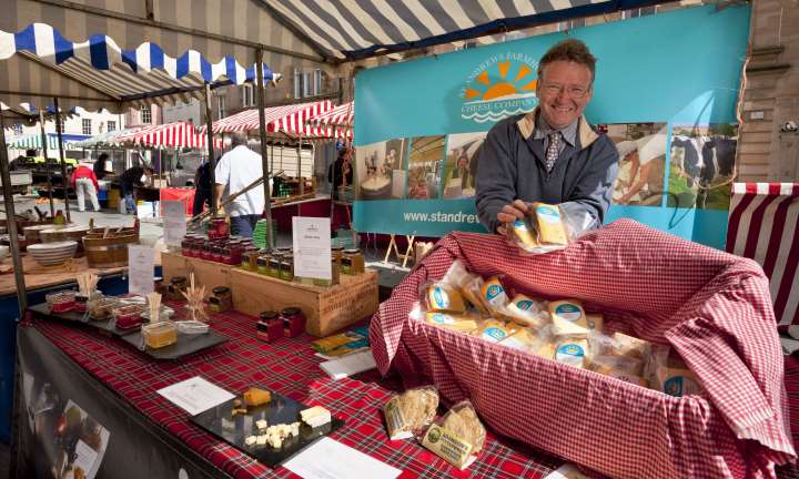 The St Andrews Cheese Company stall at the Farmers' Market in Crossgate, Cupar