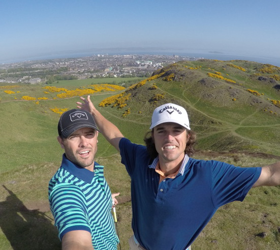 A Bryan Bros selfie at the top of Arthur's Seat