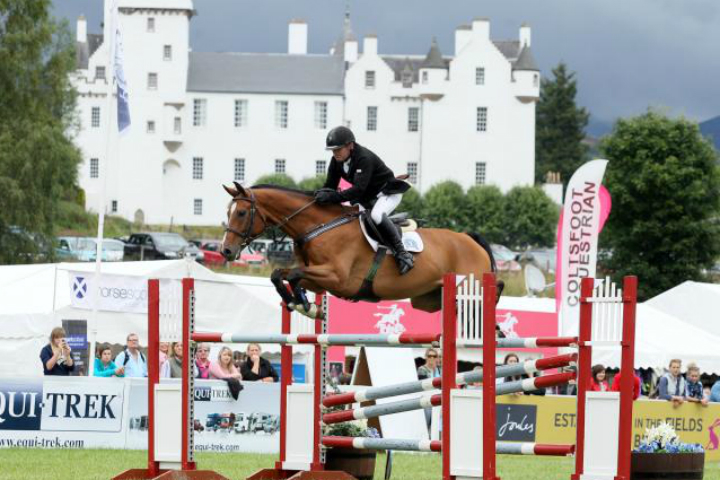 A show jumper at an equestrian event at Blair Castle in Perthshire